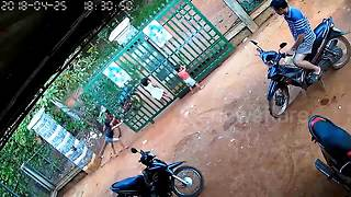 CCTV shows moment huge iron gate collapses on two children