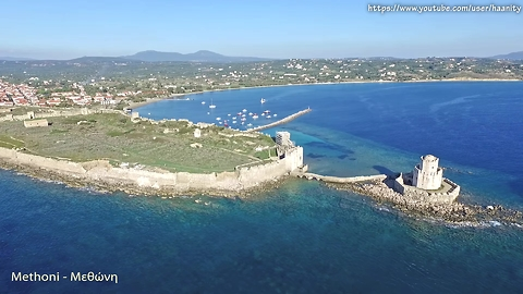 Drone footage captures Mediterranean castle town of Methoni, Greece