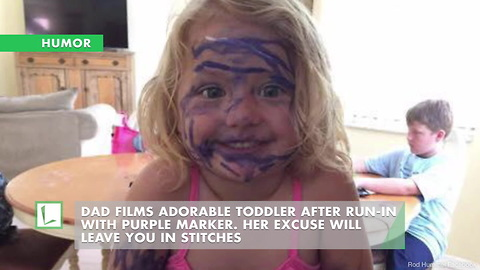 Dad Films Adorable Toddler After Run-In W/ Purple Marker. Her Excuse Will Leave You In Stitches