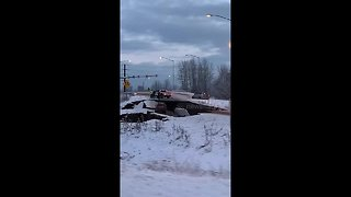 Road collapse after 7.0 earthquake in Anchorage, Alaska