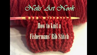 How to easy knit Fisherman's Rib stitch - Continental knitting