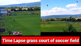 Time lapse cutting the grass of the soccer field of my town