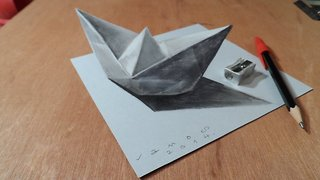 How to draw a 3D paper ship