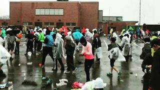 Boston Marathon: Runners Ready in the Rain - Video