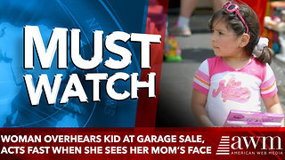 Woman overhears kid at garage sale, acts fast when she sees her mom's face - Video