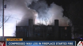 Harrisonville fire started by wax logs in fireplace - Video