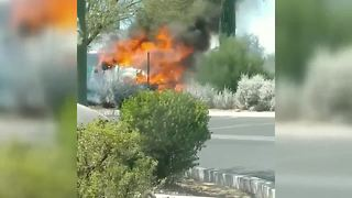 RAW VIDEO: Border Patrol vehicle catches fire