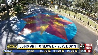 South Tampa neighbors hope street mural will slow drivers down