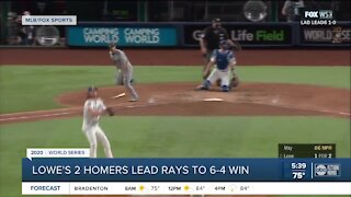 Brandon Lowe homers twice, Rays hold off Dodgers to even World Series