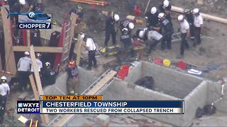 Two workers rescued from collapsed trench in Chesterfield Township - Video