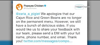 Popeyes faces Twitter backlash for changes to their menu
