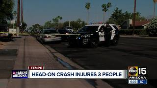 Head-on crash in Tempe sends three to the hospital