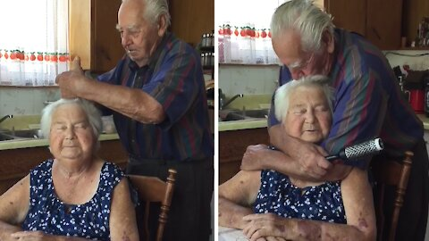 Sweet elderly couple still adore each other