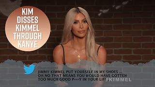 Kim K reads Kanye's mean tweet back to Jimmy Kimmel - Video