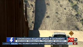 McCarthy talks state issues in Sacramento, interrupted with protestors