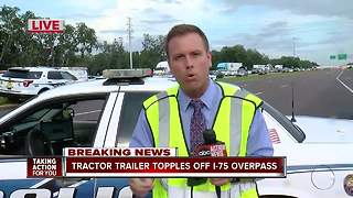 1 dead in fiery crash on I-75 and Fowler involving semi truck that fell on vehicle