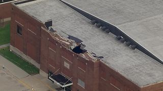 A historic fieldhouse was damaged when severe storms hit Muncie Sunday night - Video