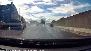 Dashcam captures truck swing out of control on highway