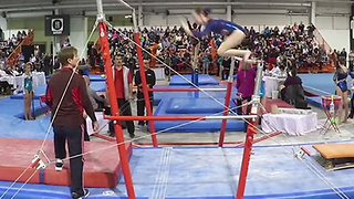 Gymnast Is Saved By Her Coach During Routine