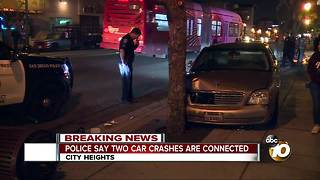 Police say two car crashes are connected - Video