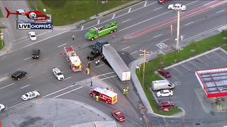 Pickup truck, semi involved in crash in South Bay - Video