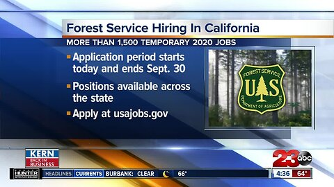 United States Department of Agriculture's Forest Service hiring for 2020 temporary positions in California