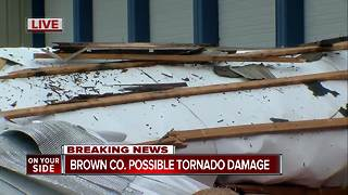 Possible tornado rips off roof of old Brown County firehouse - Video