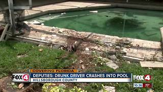 Drunk driver crashes into Hillsborough County pool - Video