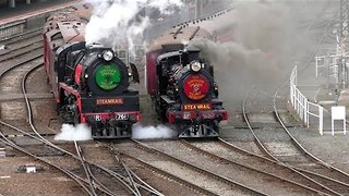 Two Steam Trains Depart Southern Cross Station for Vintage Celebration - Video