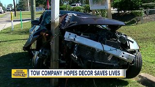 Crashed car decoration hopes to save lives