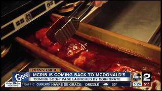 McRib coming back to McDonald's - Video