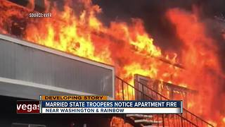 Off-duty troopers help residents escape fire - Video