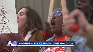 Hundreds march to Statehouse for Martin Luther King Jr. Day