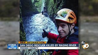 San Diego rescuer killed by raging river - Video