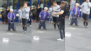 Beat boxing OAP joins street performance and throws some serious shapes