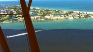 Bird's-eye view of algae across the St. Lucie Estuary and Lake Okeechobee - Video