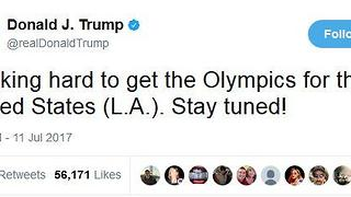 President Trump Tweeting about 2024 Olympics - Video