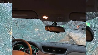 Ice flies off car, shattering windshield on 695