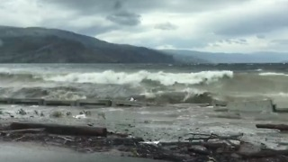 Rising Waters in Okanagan Lake Erode Highway Wall in British Columbia - Video