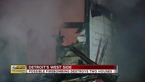 Possible firebombing destroys two houses on Detroit's west side