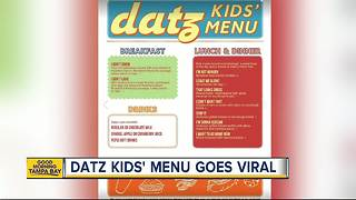 Datz in Tampa creates new kids' menu every parent can relate to - Video
