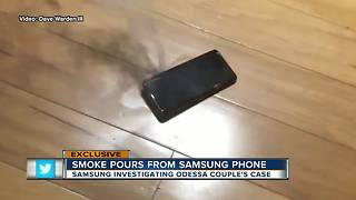 Samsung Galaxy 9 phone catches fire burning Odessa man - Video