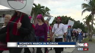 Marchers gather for in Naples on Anniversary of Women's MArch - Video