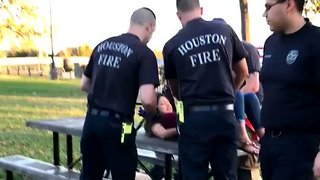 Houston Firefighters Free Teenager Who Got Stuck in a Baby Swing - Video