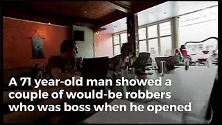 Packing Senior Stops Armed Robbers - Video