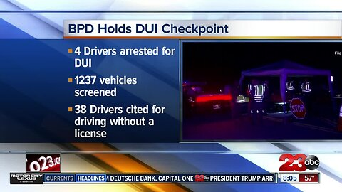BPD arrests four in DUI checkpoint