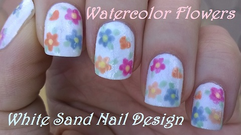 White sand nails with watercolor flowers for fall