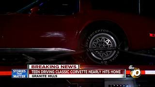 Teen driving classic Corvette nearly hits Granite Hills home - Video