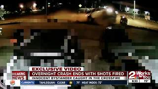 Overnight crash ends with shots fired - Video