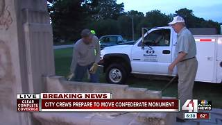 Watch: City crews remove Confederate monument on Ward Parkway - Video